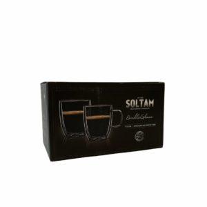 """זוג כוסות Soltam עם ידית דופן כפולה 350 מ""""ל"""